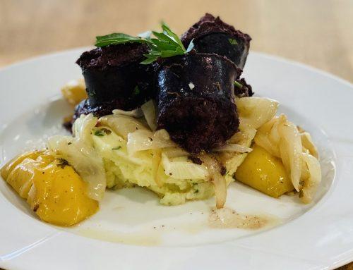Boudin noir Poêlée de pommes & oignons doux